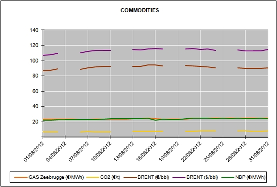 Report of the Energy Market Prices for the month of August 2012