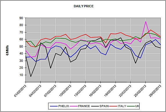 Report of the European Energy Market Prices for the month of February 2013