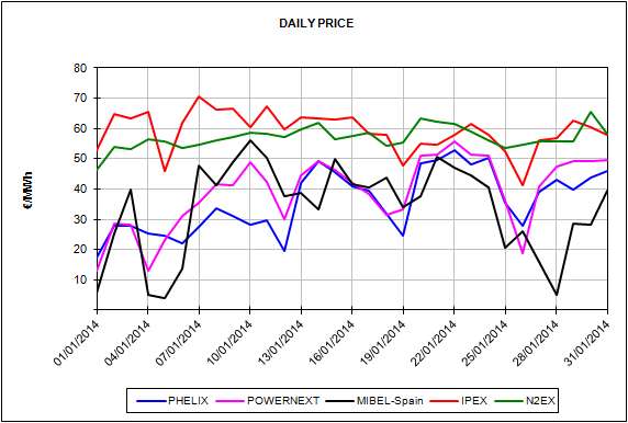Report of the European Energy Market Prices for the month of January 2014