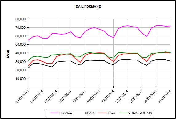 Report of the Energy Market Prices for the month of January 2014
