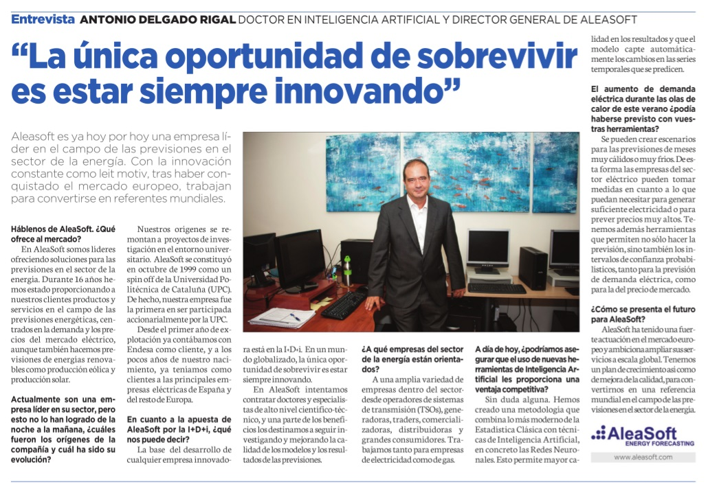 Aleasoft's Interview within the Spanish Newspaper Cinco Días