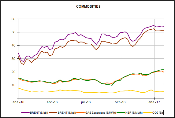 Report of the European Energy Market Prices for the month of January 2017
