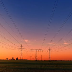 Electric towers sunset