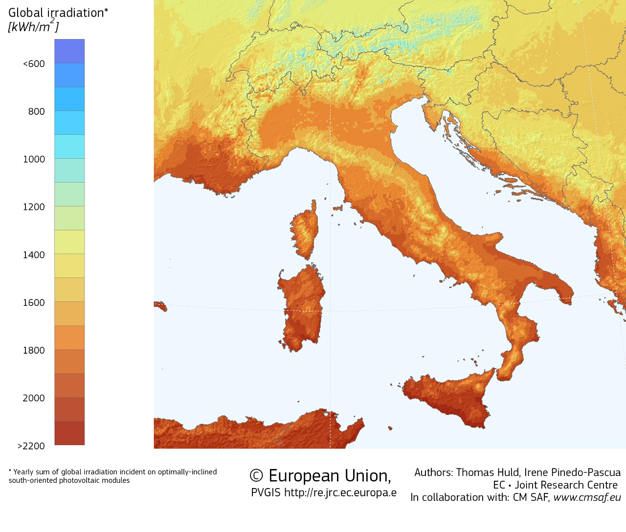 AleaSoft - Italy potential photovoltaic energy