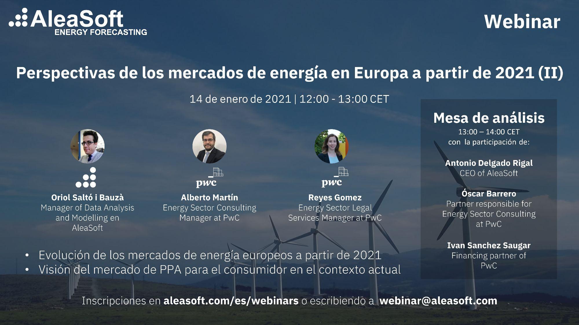 AleaSoft - Webinar Perspectivas mercados energia Europa